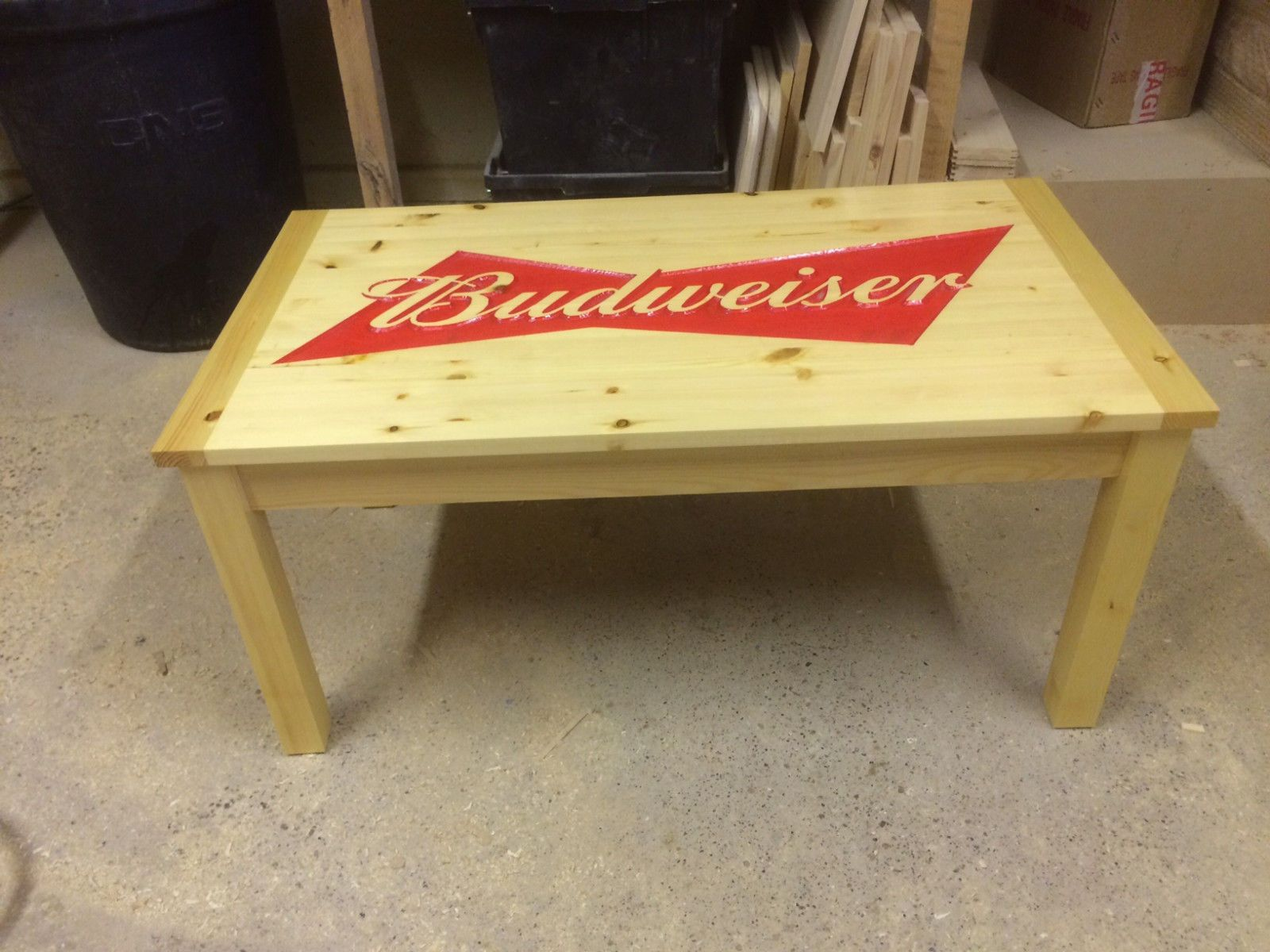 Swell Bespoke Carved Budweiser Coffee Table Man Cave Lady Cave Home Interior And Landscaping Oversignezvosmurscom